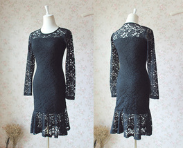 Women's Retro Floral Lace Long Sleeve Fitted Midi Cocktail Party Dress NWT