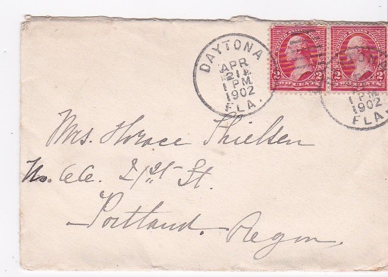 DAYTONA FLORIDA APRIL 21 1902 MAILED TO PORTLAND OREGON