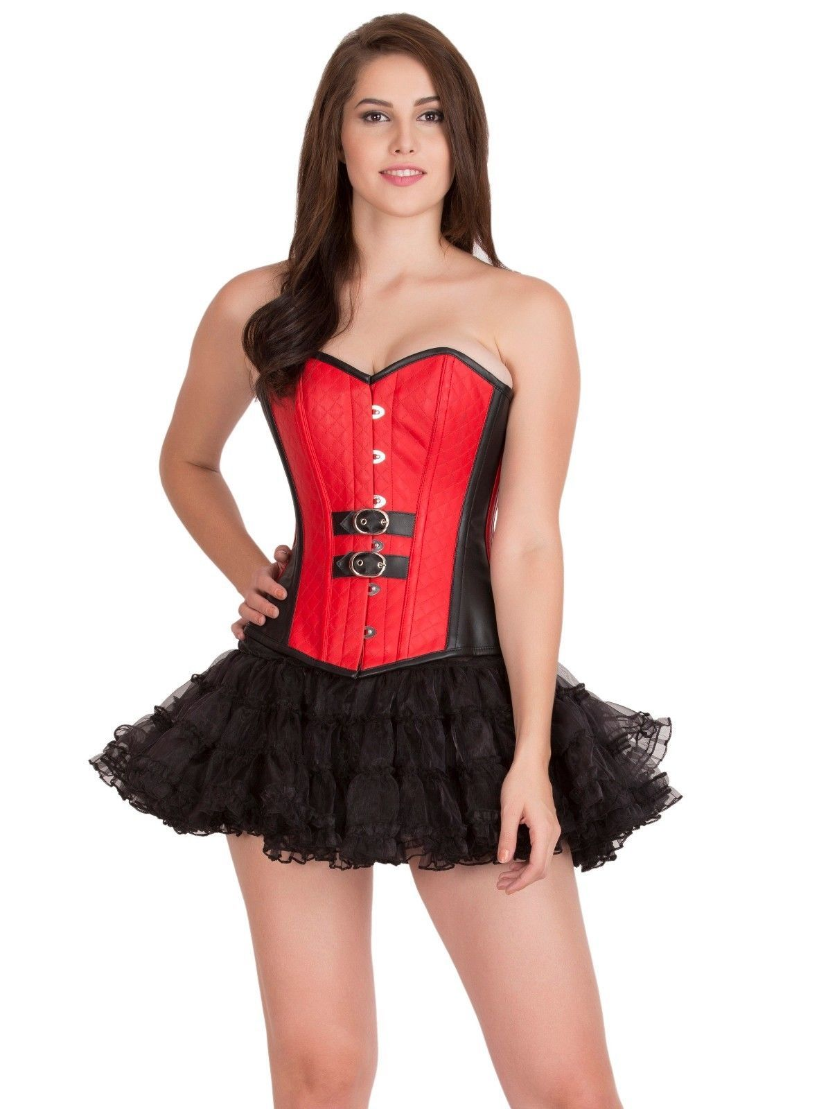 Red Black Leather Steampunk Gothic Overbust & Tissue Tutu Skirt Corset Dress