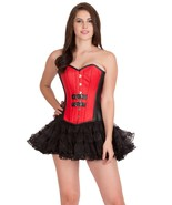 Red Black Leather Steampunk Gothic Overbust & Tissue Tutu Skirt Corset D... - $79.19+