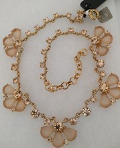 NWT J.Crew %Authentic Glass Soft Peach Petals Necklace $125 - $33.99