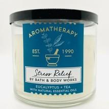 1 Bath & Body Works Stress Relief EUCALYPTUS TEA 3 Wick Scented Candle 14.5 oz - $23.02