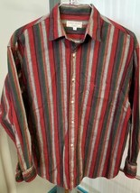 Vintage Guess Jeans Red Green Gray Vertical Striped Shirt Mens Large USA... - $34.53