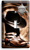 Country Cowboy Boots Hat Lasso Sheriff Star 1 Gang Light Switch Plate Room Decor - $8.99