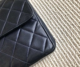 100% Authentic Chanel Vintage Dark Blue Lambskin Medium Classic Double Flap Bag  image 3