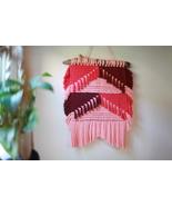 Tasseled Macrame Wall Hanging in Pink Cotton String - $99.00
