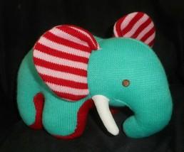 """12 """" Animale Avventura 2012 Nodo Verde Blu Elefante Rosso Righe Orecchio Peluche - $22.99"""