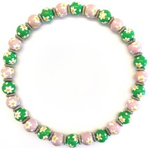 """NEW ANGELA MOORE """"DAISY DAISY"""" NECKLACE PINK & GREEN WITH WHITE & YELLOW... - $49.49"""