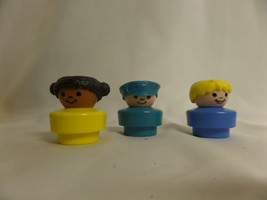 LOT OF 3 1990 FISHER PRICE CHUNKY PEOPLE BLOND HAIR , AFRICAN AMERICAN, ... - $18.51