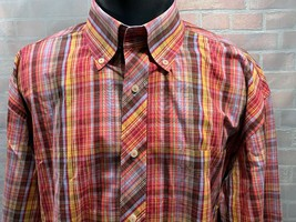 TOMMY HILFIGER 80's 2 Ply Fabric Plaid Button Front Shirt Size XL Red Ye... - $24.74