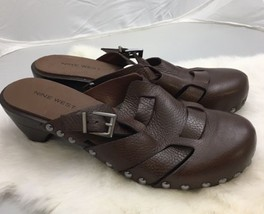 Nine West Brown Leather Clog Mules Brass Studded Detail Size 8M Retail $... - $36.14