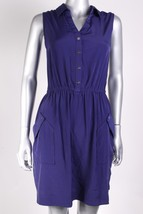 Alfani Women`s Pocketed Sleeveless Solid Blue Violet Shirt Dress Size 8 - $33.99