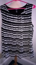 Alfani Black White Sleeveless Lined Top Plus Size 1X Nwt - $8.53