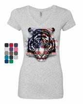 American White Tiger Women's V-Neck T-Shirt Stars and Stripes Wild Cat N... - $14.41+