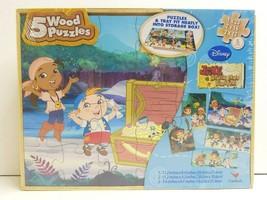 Jake The Never Land Pirates 5 Wood Puzzles Disney Jr Fun Activity Kids G... - $23.75