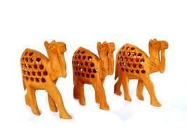 3 Wooden Camel Statue Art Hand Carved Rare Wild Animal Sculpture Figurine Camel - $29.17