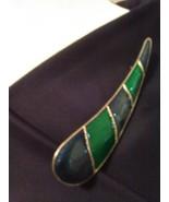 VINTAGE GOLDEN PIN BROOCH BLUE GREEN ENAMELLED SWEEPING TEARDROP - $25.00
