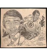 Brad Park Hockey Bruins Phil Bissel Sports Cartoon Sketch Newspaper Clip... - $10.99