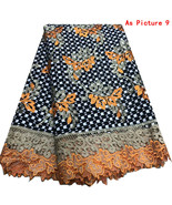 African Wax Lace Fabric Nigerian Embroidery Mesh Cord Lace Guipure Fabri... - $88.99