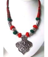 Silver Oxidized Big Pendant Necklace Choker Wedding Jewelry Tribal Chic ... - $11.87