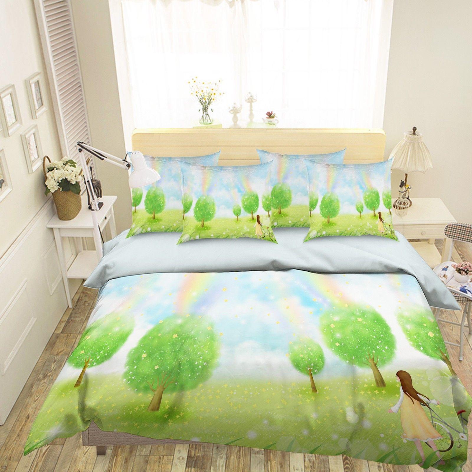 3D Green Tree Rainbow 2 Bed Pillowcases Quilt Duvet Single Queen King US Lemon - $102.84 - $158.94