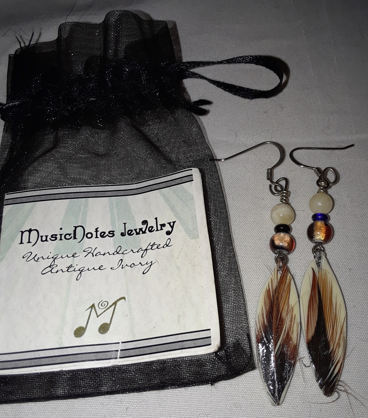 Feather Earrings handcrafted antique piano ivory by Music Notes Jewelry New