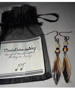 Feather Earrings handcrafted antique piano ivory by Music Notes Jewelry New  - $8.00