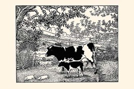 When they Went Scampering By, the Cow Just Stared at Them by Luxor Price - Art P - $19.99+