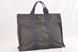 HERMES Her Line MM Tote Bag Dark Grey Cotton Auth 7530 - $180.00
