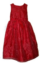 Rare Editions Red Floral Bow Woven Design Girls Dress Size 6X - $28.71