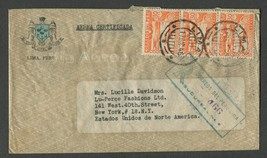 1946 Canceled Peru Air Mail Envelope with 3 stamps YT:PE PA67 - $6.50