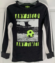 Boys Sz 8 OshKosh B'gosh Soccer Long Sleeve Gray Green White T-shirt Top... - $7.91