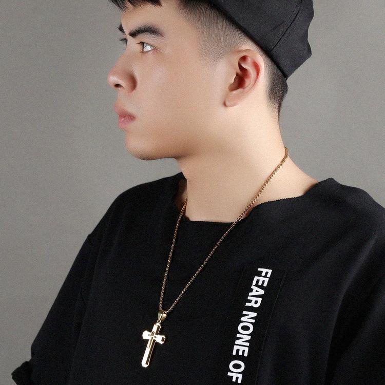 Men Cross Necklace Gold Silver Black Cross Pendant Stainless Steel Chain Hip Hop