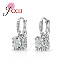 New Trendy Hoop Earrings For Women 925 Sterling Silver Square CZ Jewelry Accesso - $8.08