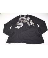 W11517 Womens ANN TAYLOR black SWEATER w/ faux tie-blouse, size XL - $32.84