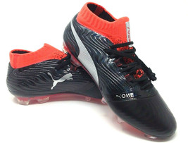 PUMA One 18.1 FG Soccer Cleat 104527 01 Black Silver Red Blast Men's Size 7.5 - $59.40