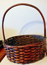 Primitive Round Basket With Big Round Handles For Crafting Or Embroidery - $48.40