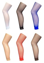 Sock Snob UK - Ladies Sexy Neon Coloured Footless Fishnet Tights with Lace Trim - $6.61