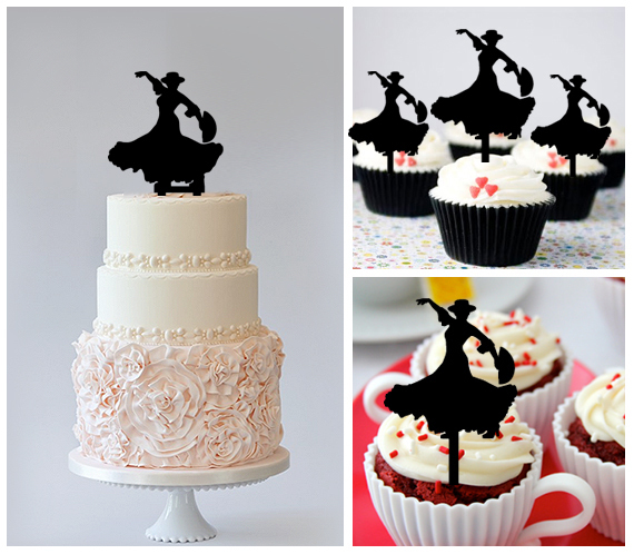 Decorations WeddingBirthday Cake TopperCupcake Topperdancing Flamenco 11 Pcs