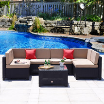 7PC Patio PE Wicker Furniture Sectional Set Backyard Outdoor Garden Sofa... - $599.99