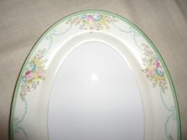 "Meito China 14"" Platter Green Band Floral Bouquets & Garlands N1299 Vintage - $33.66"