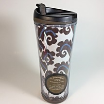 Starbucks Travel Mug Ikat Print Fabric Indonesia 2007 Brown White Blue 16 oz. - $14.99