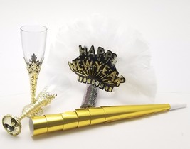 6 Ladies night  New Years kit feather tiaras blowers confetti glasses - ... - $14.80