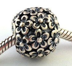 Authentic Pandora Jumbo Perfect Posies Xlarge Sterling Silver Bead Charm... - $100.74
