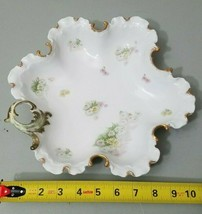 "Monbijou Rosenthal RC Germany 11"" Decorative Plate Scalloped Gold Edging Flowers - $34.64"
