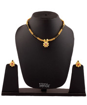 Womens Trendz Black and Golden Mani 24K Gold Plated Alloy Necklace and Earring S - $35.00