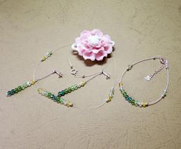 Green Crystal Invisible Necklace, Adjustable Crystal Bracelet, Dangle Ea... - $57.00