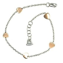 Gold Bracelet White Pink 18K 750 Hearts, Plates, Heart, Length 18 cm ,Italy image 2