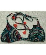 LAUNDRY By SHELLI SEGAL Neon Multicolor Batik Chic Triangle Bikini Top S... - $31.35