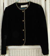 SOO YUNG LEE Vintage 1980s Black Velvet Evening Jacket US12 40″ Bust Blazer - $64.66
